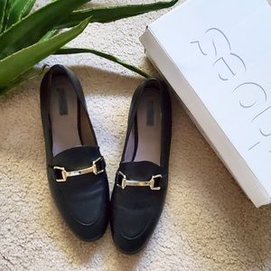 Topshop Kendall Black Leather Loafers size 8.5